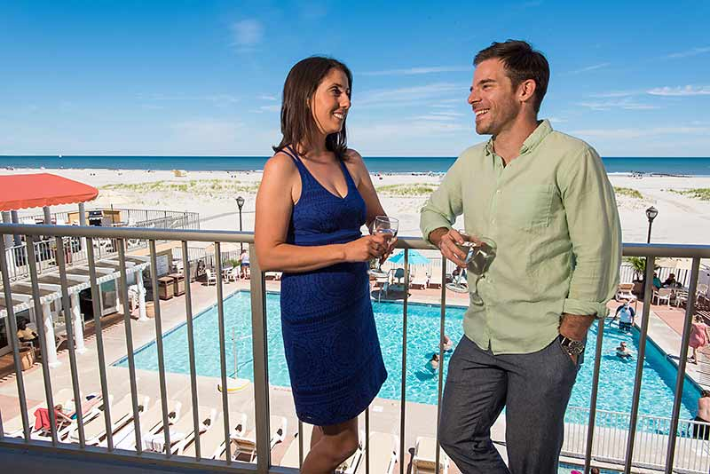Wildwood Crest Hotel, Couple Enjoying Oceanfront Balcony